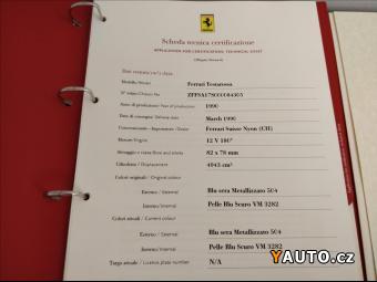 Prodám Ferrari Testarossa 4,9 Osvědčení Ferrari Classic