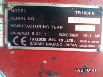 Prodám Takeuchi TB 180 FR (8 t)