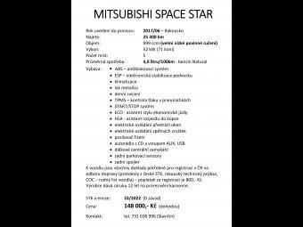 Prodám Mitsubishi Space Star Inspire 1, 0 MPI